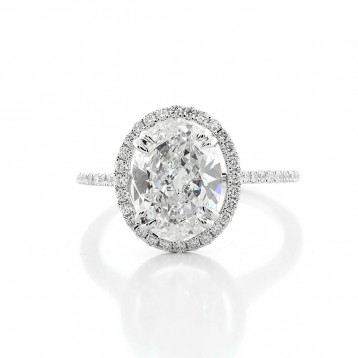 Pave Setting 2.94 Ctw Oval Cut  Diamond Engagement Ring with halo Set in 18K White Gold