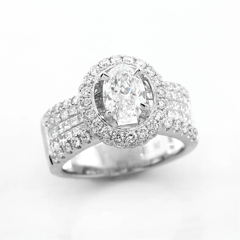 index and white cut in diamond setting pave halo invisible with oval set ring ctw