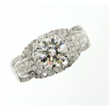 GIA 3.45 Cts Round Cut Diamond Engagement Ring 18K White Gold