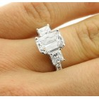 3.88 Ctw Three Stone Cushion Cut Diamond Engagement Ring Set in 14K White Gold