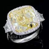Yellow Cushion Cut Diamond Engagement Ring