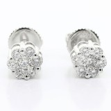 0.47 Cts Cluster Diamond Studs set in 14K white gold