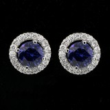 Gem Round Studs with Diamond Halo set in 18 K White Gold