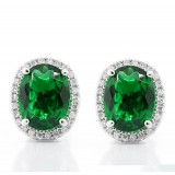 0.23 CTs Round Cut Diamond Earrings with Oval GEM 3.03 Cts 18K White Gold