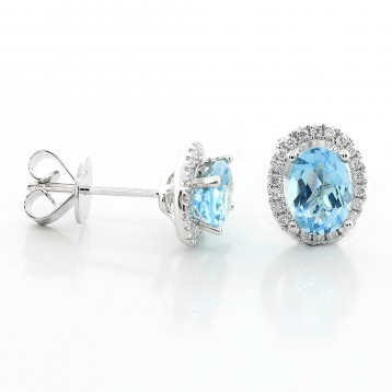 Gem Oval Studs with 0.19 Cts Diamond Halo Set in 18K White Gold
