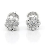 0.67 cts Cluster diamond studs set in 14Kb White gold