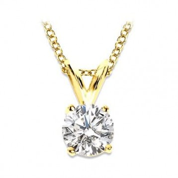 1.40CT Round Diamond Solitaire Pendant  14Kt Yellow Gold