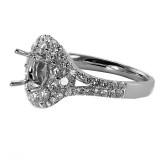 3 Stone Emerald Cut Diamond Engagement Ring Setting