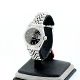 ROLEX Lady Perpetual Date Stainless Steel Fluted Black Dial 26mm Automatic Watch