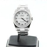 ROLEX Datejust Stainless Steel Fluted Silver Dial Roman 36mm Automatic Watch