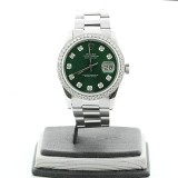 ROLEX Oyster Perpetual Datejust 1.2 Ctw Round Cut Diamond Bezel Green Dial 36mm Automatic Watch