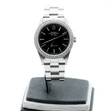 Rolex Oyster Perpetual Stainless Steel AIR-KING Precision Black Dial with Diamonds