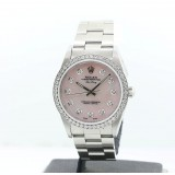 Rolex Air-King Stainless Steel Diamond Pink Mother Of Pearl 34mm Watch