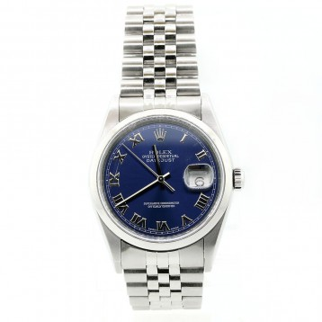 Rolex Datejust Stainless Steel Domed Blue Dial 36mm Watch