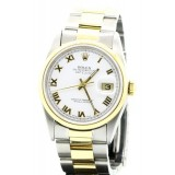 Rolex Datejust Two-Tone Domed White Dial 36mm Automatic Watch