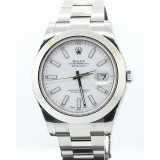 Rolex Datejust II Stainless Steel Domed White Dial 41mm Watch