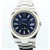 Rolex Datejust II 18K White Gold Fluted Bezel Blue Dial 41mm Automatic Watch