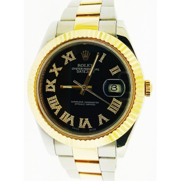 Rolex Datejust II Steel and Yellow Gold Black Diamond Roman Dial 41mm Watch
