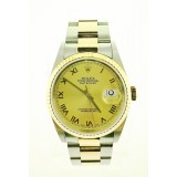 Rolex Datejust 16233 Yellow Gold Fluted Bezel 36mm watch with PAPER