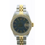 Rolex Lady-Datejust 18K Yellow Gold Diamond Bezel with Deep blue dial 26mm Watch