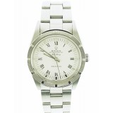 Rolex Air-King Stainless Steel Fluted With White Roman Dial 34mm Watch