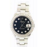 Rolex Oyster Perpetual Date Stainless Steel Black Diamond Dial 34mm Automatic Watch