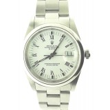 Rolex Oyster Perpetual  Date Stainless Steel Smooth Bezel White Roman Dial 34mm Watch