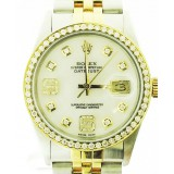 Rolex Datejust 18K Yellow Gold and Stainless Steel Diamond Bzel and Dial 36mm Watch