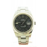 Roles Datejust II Stainless Steel Fluted Bezel Grey Roman Hour 41mm Watch