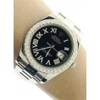Rolex Datejust II Stainless Steel Diamond Black Roman  Dial 41mm Watch