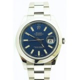 Rolex Datejust II 116300 Stainless Steel Smooth Blue Dial 41mm Watch