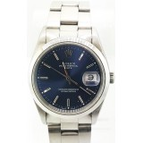Rolex Oyster Perpetual Date Stainless Steel Blue Dial 34mm Automatic Watch
