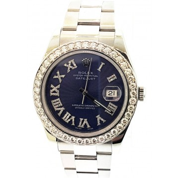Rolex Datejust II Stainless Steel Diamond Bezel blue Dial 41mm Watch