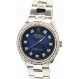 Rolex Air King Stainless Steel Blue Diamond Dial 34mm Automatic Watch