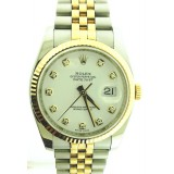Rolex Datejust 18k Yellow Gold Fluted Bezel White Diamond Dial 36mm Automatic Watch