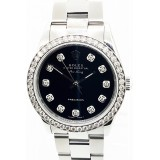 Rolex Air King Stainless Steel Black Diamond Dial 34mm Automatic Watch