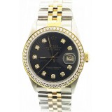 Rolex Datejust Diamond Bezel Black Dial 36mm Automatic Watch