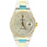 Rolex Datejust Yellow Gold Diamond Bezel Rhodium Dial 36mm Automatic Watch