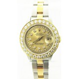 Rolex Oyster Perpetual Lady Stainless Steel and 18K yellow Gold with 1.70 ctw Diamond Bezel 26mm Watch