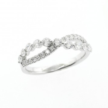 0.84 Cts Round Cut Diamond Infinity Wedding Band set in 18K White Gold
