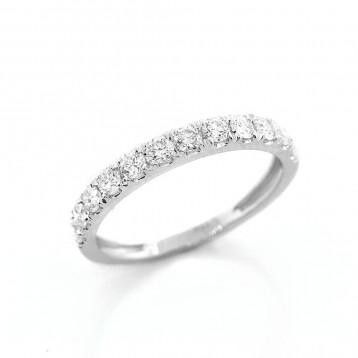 0.66 Ctw Round Cut Half-Eternity Diamond Wedding Band  Set in 18K White Gold