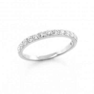 0.59 Ctw Round Cut Half-Eternity Diamond Wedding Band Set in 18 K White Gold