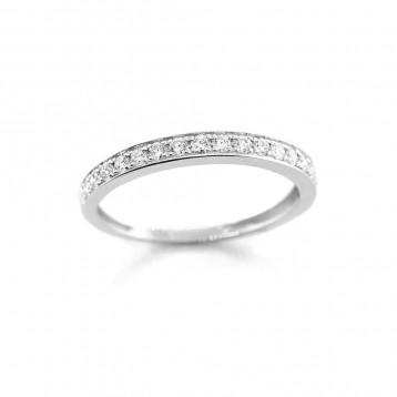 0.29 Ctw Round Cut Half-Eternity Diamond Wedding Band Set in 18K White Gold