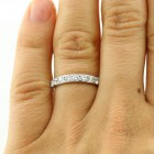 0.91 Ctw Round Cut Half-Eternity Diamond Wedding Band in 18K White Gold