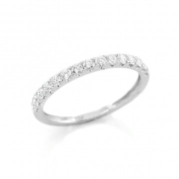 0.41 Ctw Diamond Half Eternity Wedding Band Set in 18K White Gold