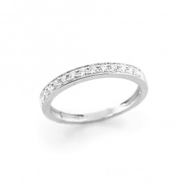 0.23 Ctw Round Cut Half-Eternity Diamond Wedding Band Set in 18K White Gold