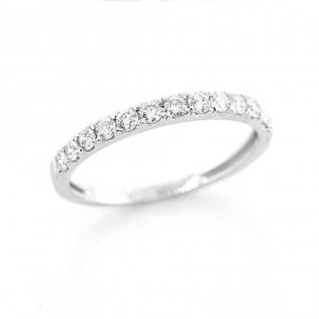 0.46 Ctw Round Cut Half-Eternity Diamond Wedding Band Set in 18K White Gold