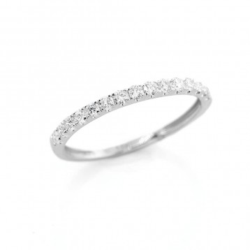 0.31 Ctw Round Cut Half-Eternity Diamond Wedding Band Set in 18K White Gold