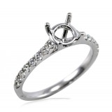 Petite Cathedral Pavé Diamond Engagement Ring 18Kt White gold