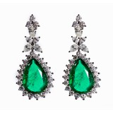 10.71CT Emerald and Diamond Drop Earrings